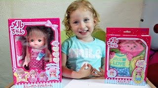 Lutka menja BOJU KOSE! Otvaranje igracaka set Mell Chan Baby Doll Japanese kids toy メルちゃんおもちゃおこさまセット