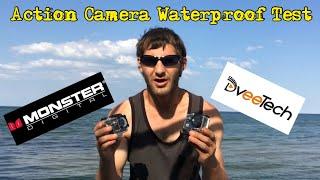 ACTION CAMERAS WATERPROOF TEST MONSTER DIGITAL HD AND DVEETECH 4K ULTRA HD