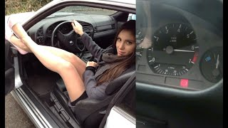 Miss Iris revving and driving the BMW Series 3 | Trailer Pedal Pumping