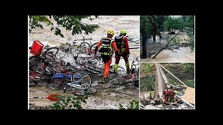 Tourists airlifted to safety after flash floods sweep through France