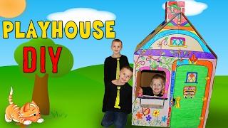 Kids DIY Cardboard Box House Playtime