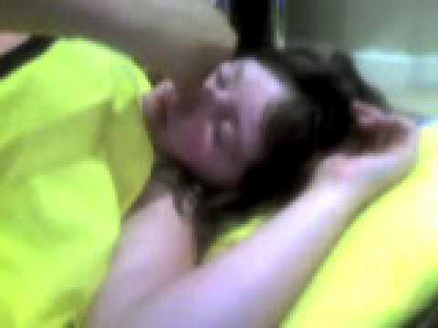 haha my sister sleeping! haha!