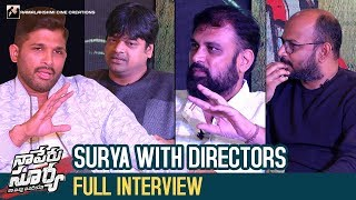 Surya with Directors   Naa Peru Surya Naa Illu India   Allu Arjun   Harish Shankar  Vakkantham Vamsi