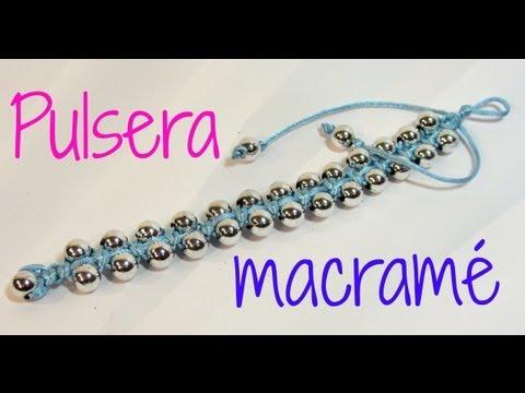 Tutorial Pulsera con técnica de macramé. Bracelet macrame.