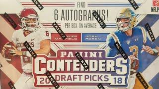 2018 Panini Contenders Draft Picks Football Hobby Box. 6 Autos per Box