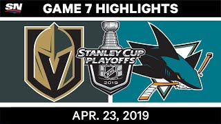 NHL Highlights | Golden Knights vs. Sharks, Game 7 - April 23, 2019