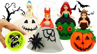 PLAY DOH HALLOWEEN COSTUMES 🎃 Dress Up for Disney Princess Dolls Elsa and Anna, Ariel, Belle