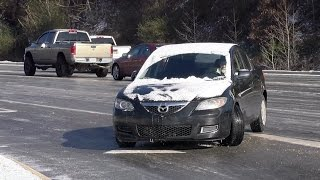 Icy road mayhem in Birmingham, Alabama - January 7, 2017