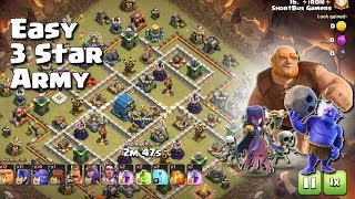 Th12 EASY 3 STAR ARMY= 12 Giants+12 Witch+12 Bowlers | TH12 War Strategy #65 | COC 2018 |