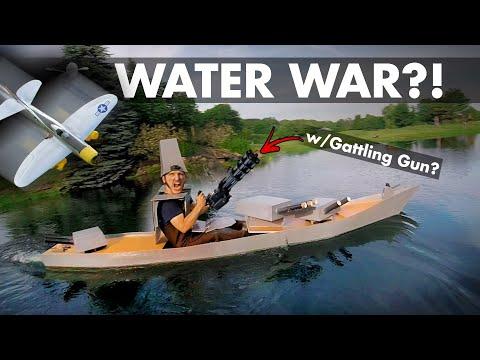 Water War Foamboard Boat Gatling Gun VS Dive bombers 🚢😲