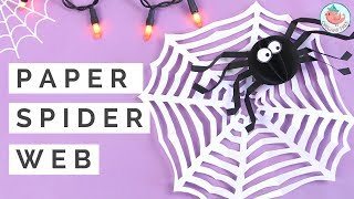 Halloween Crafts | Kirigami Spider Web w/ ONE SHEET of Paper & Paper Spider Collab w/ Red Ted Art