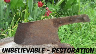 RUSTY BUTCHER'S KNIFE - IMPOSSIBLE CLEAVER RESTORATION