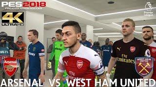 PES 2018 (PC) Arsenal v West Ham United | REALISTIC PREMIER LEAGUE PREDICTION | 25/8/2018 | 4K 60FPS