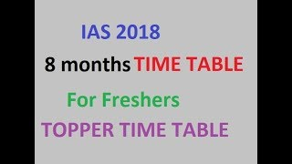IAS 2018 Study Time Table 8 months Freshers