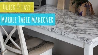 DIY Marble table, quick and easy table makeover