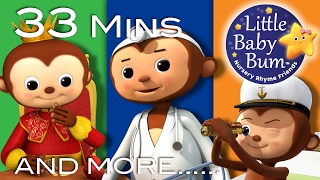 Five Little Monkeys Jumping On The Bed| Plus Lots More Songs | 33 Mins Compilation by LittleBabyBum!