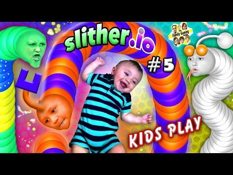 SLITHER.io 5 BABY SNAKE PUNCHER FGTEEV Kids Play w Worms ♫ Chase Lex Mike & Shawn ♫