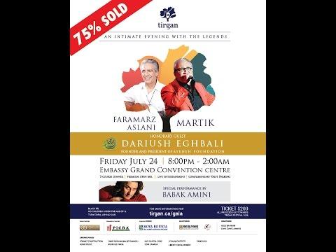 Faramarz Aslani and Babak Amini live in Tirgan's Gala- فرامرز اصلانى اگه يه روز برى سفر