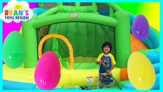 HUGE EGGS SURPRISE TOYS CHALLENGE Inflatable water slide Disney Cars Toys Paw Patrol Spiderman