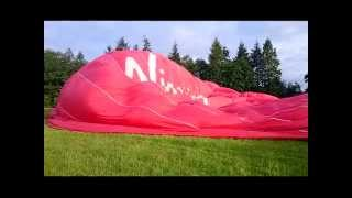Hot Air Balloon Fight. Slow-motion inflation and images from 3000 feet.