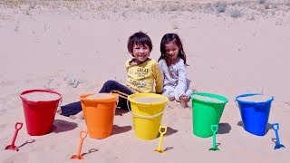 Learn Colors and Sport Ball Names with Sand Buckets for Children and Toddlers