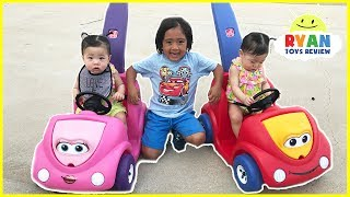 Twin Babies riding Step2 Push Around Buggy Car! Family Fun Kids Playtime with Ryan ToysReview