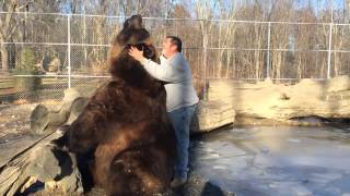 Jim playing with Jimbo the bear.