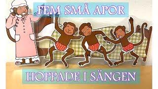 Fem små apor hoppade i sängen   Barnsånger