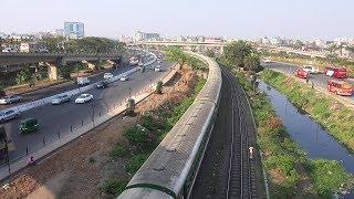 (4K Ultra HD) Silk City Express passing Kuril Flyover Bridge-  Bangladesh Railway