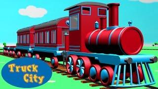 Train & the locomotive engine around Truck City | Construction game Cartoon for children