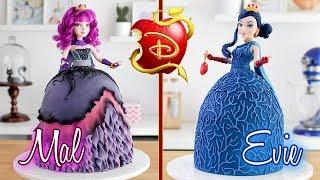 DESCENDANTS 2 🍎 Evie & Mal Doll Cake 💙 Tan Dulce