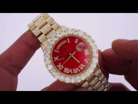 Red Face Rolex Day Date President 23 carats diamonds Iced out with 9 carats huge diamond bezel.