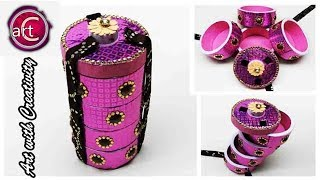 Multi Storage box | Tiffin Box inspired | Best out of Waste | Art with Creativity