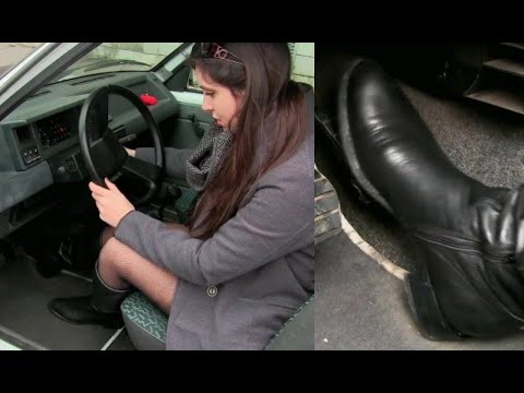 Miss Iris cranking in leather boots | Trailer Pedal Pumping