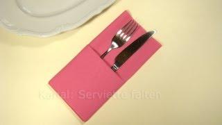 Servietten falten: Einfache Bestecktasche falten -Tisch decken originell - Weihnachten
