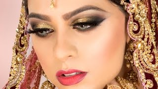 Gold Glitter Traditional Asian Bridal Makeup