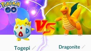 I ACTUALLY WON LOL! TOGEPI VS DRAGONITE POKEMON GO BATTLE!