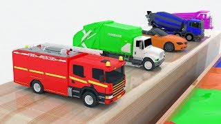 Learn Color for kids with Street Vehicles Changing Colors - Colours for Kids Learning Videos