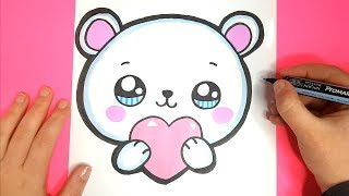 How to Draw a Cute Polar Bear EMOJI with a LOVE Heart - Valentine