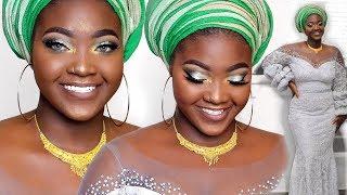 GRWM: MAKEUP + GELE + OUTFIT (Lagos Wedding edition) | Uwani Aliyu
