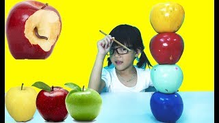 Baby Crying Apple Learn Colors Bad kid Roll and Crush Apple Hide under Table   Colours Learning Vide