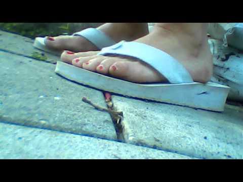 red toes white flipflops bare feet