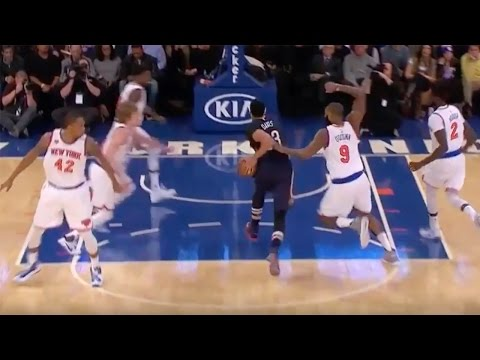 Anthony Davis THROWN into Crowd by Kyle O Quinn Flagrant Foul Carmelo Anthony EJECTED