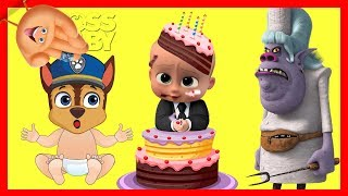 Trolls Poppy Birthday Cake with The Emoji Movie Game and Paw Patrol Chase | Ellie Sparkles