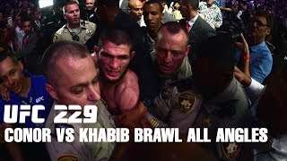Conor McGregor vs Khabib Team Brawl After UFC 229 from different angles.