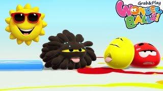 Squishy Balls Vs Hot Sun! Kids Funny Video Compilation   Color Splash Fun With Wonderballs Official