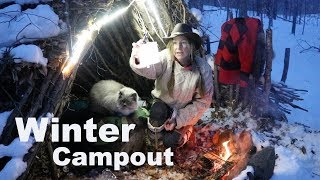 ~Bushcraft Shelter Overnight with my Dog & Cat~ Campfire Cooking