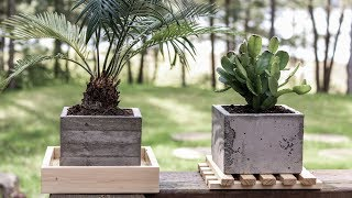 DIY Concrete Planters   Board Formed Concrete