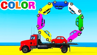 LEARN COLORS w Truck in Cars Cartoon for Children Learn Numbers & Spiderman Learning Video