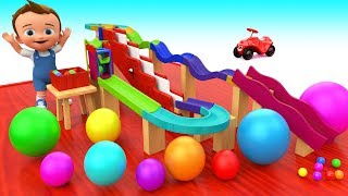 Little Baby Fun Play Learning Colors with Color Ball Wooden Slider Toy Set Kids Children Educational